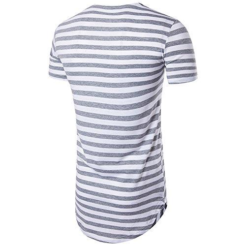 adbf5aec7ae7 Cottory Men's Striped Hip Hop Basic Longline Crewneck T-shirt Light Grey  Medium