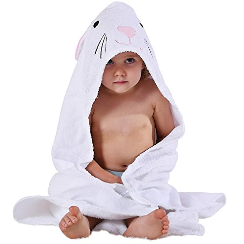 MICHLEY Animal Face Hooded Baby Towel Cotton Bathrobe for Boys Girls 0-6  Year White f9703c4be