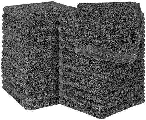 Utopia Towels Cotton Washcloths 24 Pack Grey